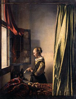 1657-1659 - Vermeer, Johannes  - Girl reading a letter at the window - A Girl Reading a Letter by an Open Window (Brieflezend Meisje bij het Venster) - Oil on canvas 83 x 64.5 cm. - Gemäldegalerie Alte Meister (Old Masters Picture Gallery), Dresden