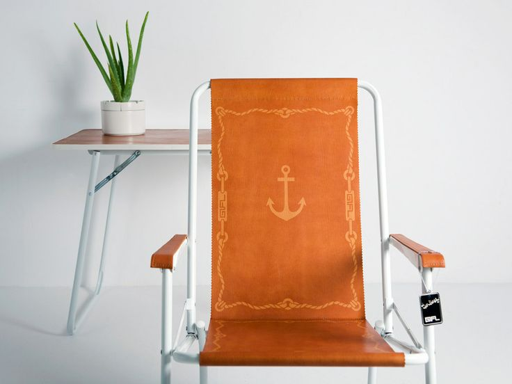 sun-kissed, foldable furniture- aluminum and untreated leather, decorated with sun – dyed patterns.