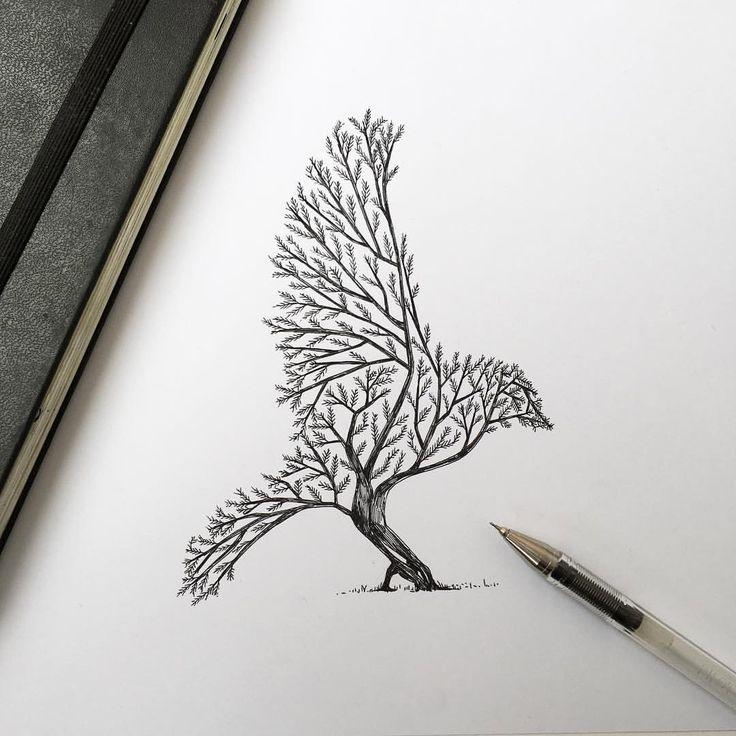 Zeichnungen: Filigrane Mischwesen aus Flora und Fauna  Wenn im Geweih des Rothirschs Vögel auf Ästen und Zweigen nisten, wenn dem Wolf eine steinerne Gebirgskrone auf dem Haupt wächst und der Buckelwa...