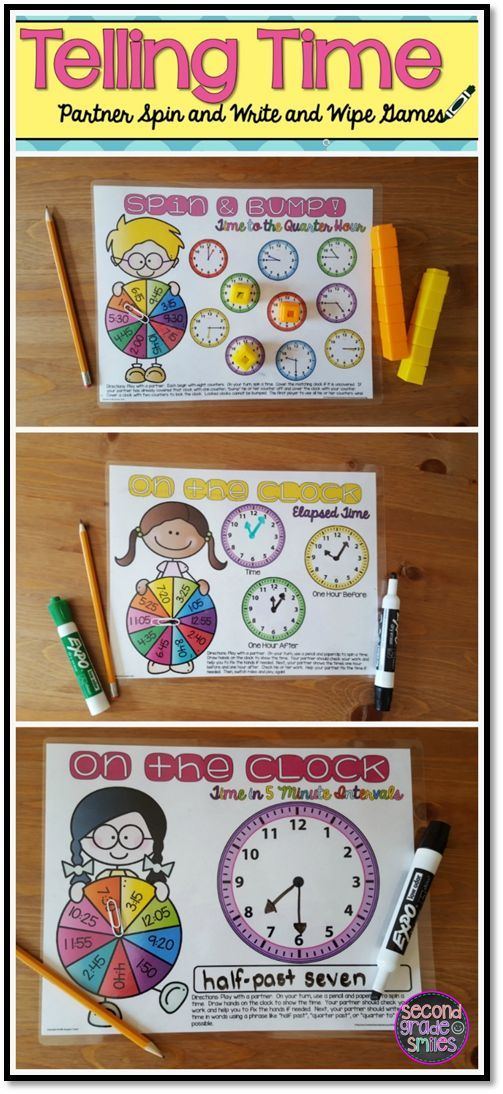 Telling time is always a challenge for my 2nd graders. These fun, easy-prep write and wipe games are great practice and they make differentiating my math center activities easy! $