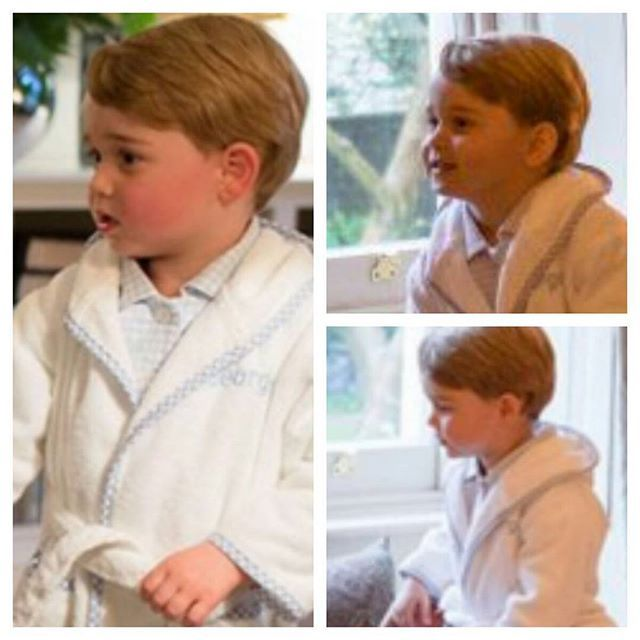 New photos of Prince George dressed in pj's and his dressing gown with his name on, George greets the President and First Lady if the USA