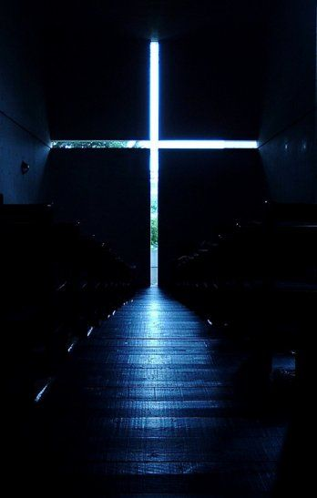 """Tadao Ando. Church of Light (Ibaraki Kasugaoka Kyokai Church, Osaka, Japan. """"Light is the origin of all being. Light gives, with each moment, new form to being and new interrelationships to things, and architecture condenses light to its most concise being"""" (Tadao Ando)"""