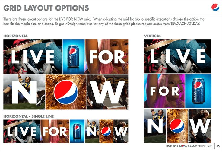 brand guidelines - layouts - Pepsi