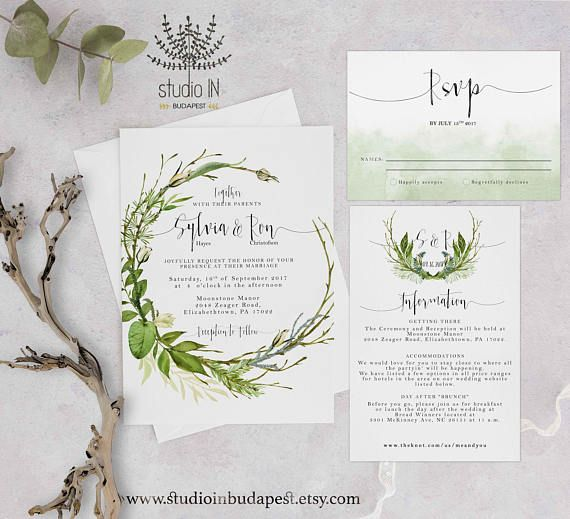 Green foliage Wedding Invitation woodland wedding invite