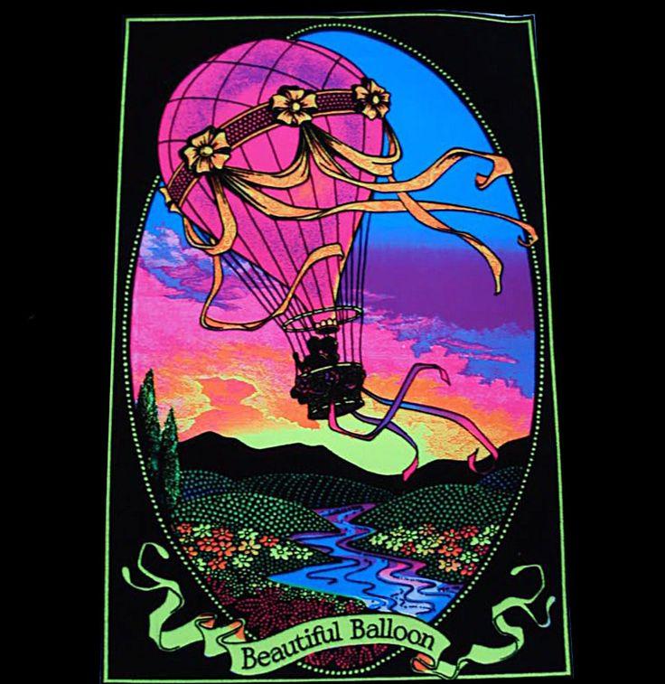 "#70s #Blacklight HOT AIR ""BEAUTIFUL BALLOON"" #VINTAGE # ..."