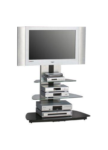 MAJA-Möbel 1618 9442 TV-Rack, Metall Alu - Schwarzglas, Abmessungen BxHxT: 90 x 128,8 x 54,3 cm #MAJA #Möbel #Rack, #Metall #Schwarzglas, #Abmessungen #BxHxT: