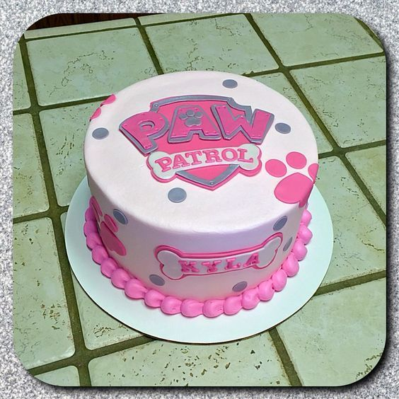 Pink PAW Patrol birthday cake customized with the birthday girl's name. So cute!:
