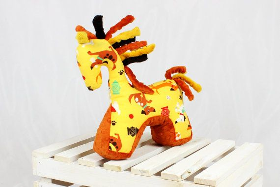 Sensory Toy Horse Dogs Rust Mascot Newborn Gift Cuddly by NuvaArt