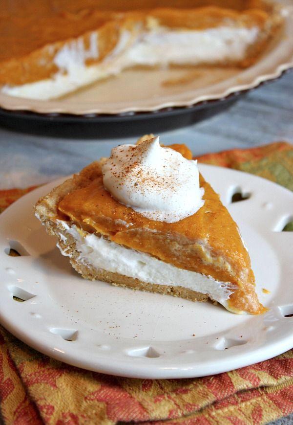 No- Bake Double Layer Pumpkin Pie #recipe