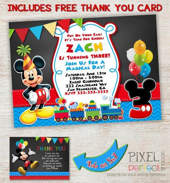 ANY AGE Mickey Mouse Train Invitation, Birthday Invitation, Mickey Mouse Clubhouse, Photo Invitation, Chalkboard Invitation, Chevron Card