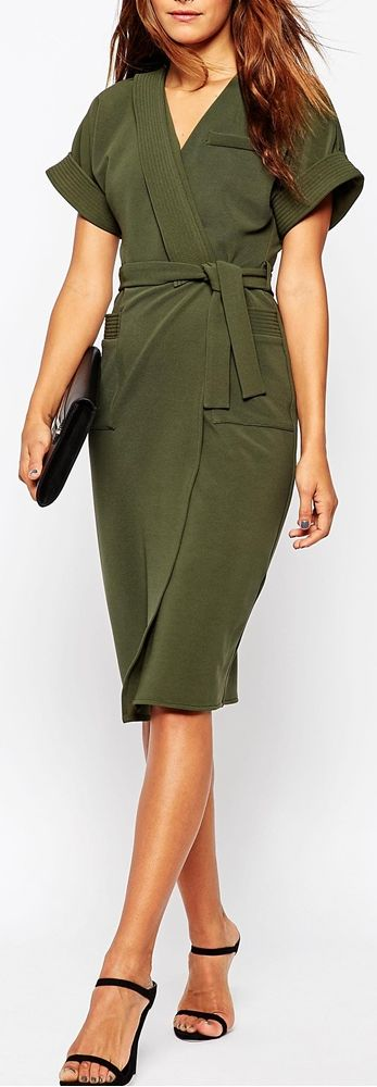 olive kimono wrap dress