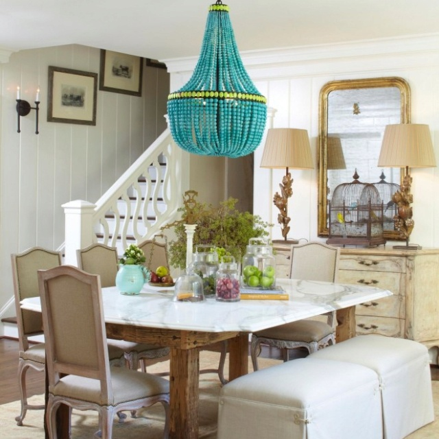 Traditional Dining Room By Meg Adams Interior Design Awesome Turquoise Chandelier