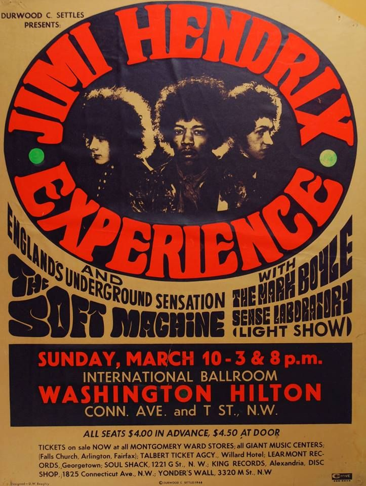 Jimi Hendrix. Tickets $4.50 At The Door. 1968~ A Very Good