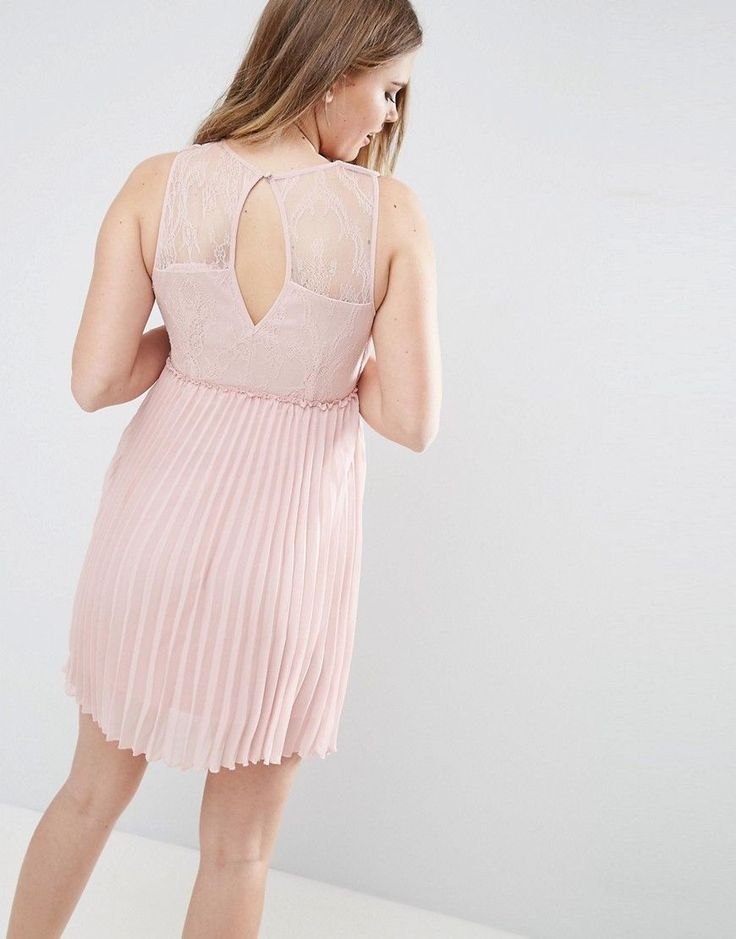 Vila Pleated Dress With Cut Out Back - Pink