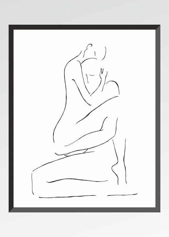 Art print. Minimalist erotic illustration for bedroom. Man and woman line art by siret roots. #art #sketch #blackandwhite #erotic #drawing #bedroom #homedecor #gallerywall