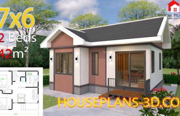 House Design 7 6 With 2 Bedrooms Gable Roof Small House Design Plans House Plans Gable Roof House
