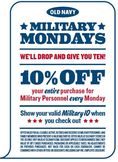 Military Mondays At Old Navy   10% Military Discount