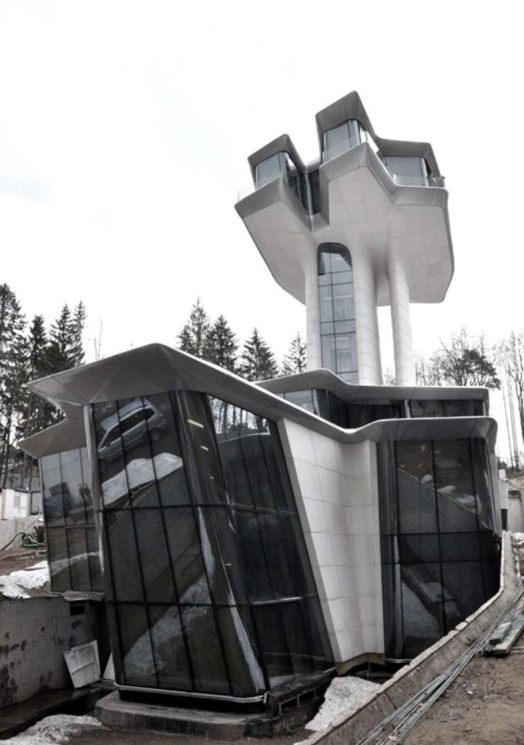 Architect,  Zaha Hadid designed this home near Moscow, a wedding gift to supermodel, Naomi Campbell from husband Russian billionaire Vladislav Doronin.