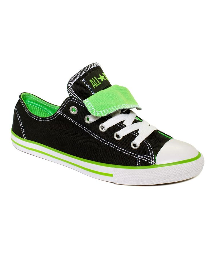 Converse Women's Shoes, Chuck Taylor All Star Dainty Sneakers - Shoes - Black/Neon Green $50