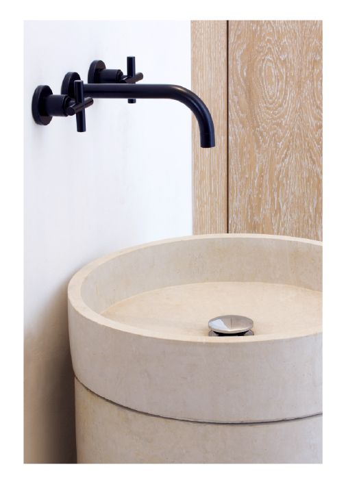 Simple round washbasin and natural colours marmospirito for D i y bathroom installations