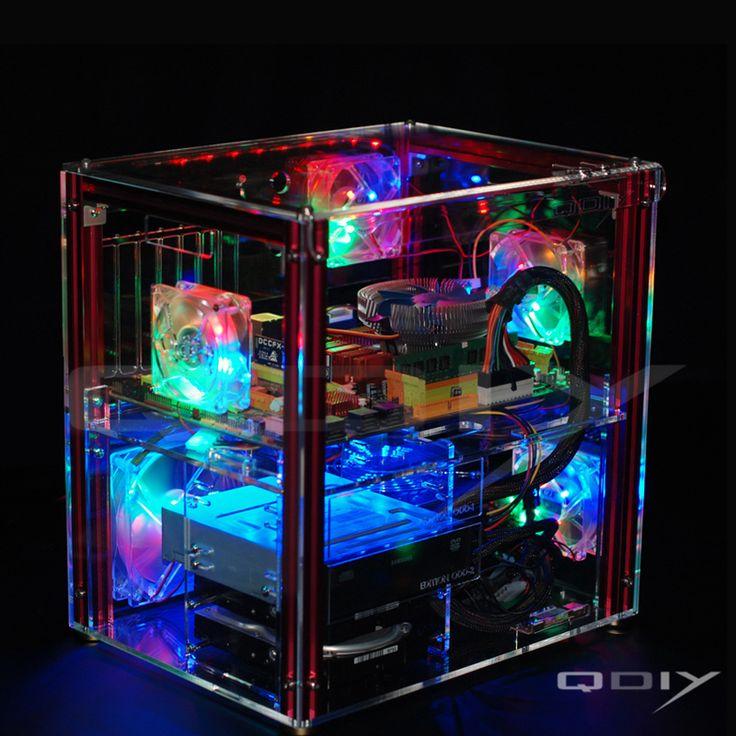 Qdiy PC-C004 completa transparente acrílico personalizado computador refrigerado a água(China (Mainland))