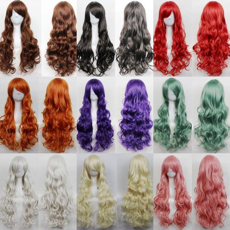 80 cm lunghi ondulati nero/rosso anime cosplay parrucche, piena di capelli castani capelli del partito parrucche, kanekalon rosa/ragazza bionda parrucca sintetica dei capelli