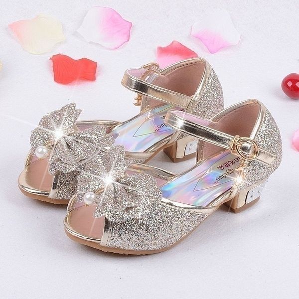 Children Girls Bowknot Bling Sequins Single Shoes Princess Shoes Prom Party