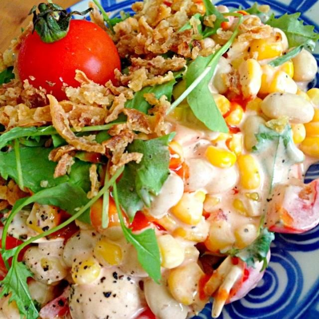 今回の野菜は、ベビーリーフ、マッシュルーム、プチトマト、ニンジン、コーン、大豆の水煮♥ - 187件のもぐもぐ - この前のメキシカンサラダっぽいぞサラダのソースレシピ by tomokeeta