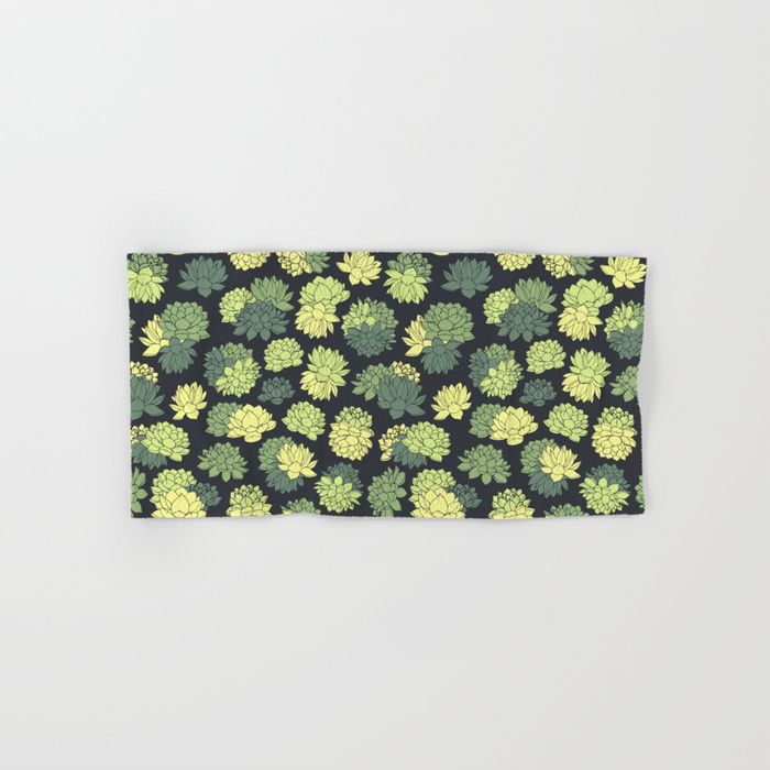Green Succulents Pattern Hand & Bath Towel #faerieshop #tropical #floral #succulents #plants #lotus #pattern #water #lily #flowers #drawing #art #liles #blossom #green #ornament #shopping #society6 #home #decor #decoration #bath #bathroom