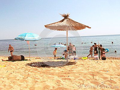 People are resting on the beach Varna (Bulgaria)