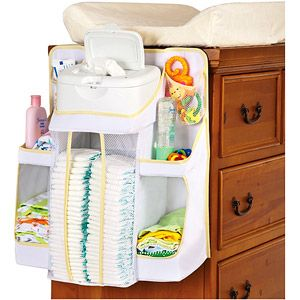 Nursery diaper organizer for small space and minimum countertop space.