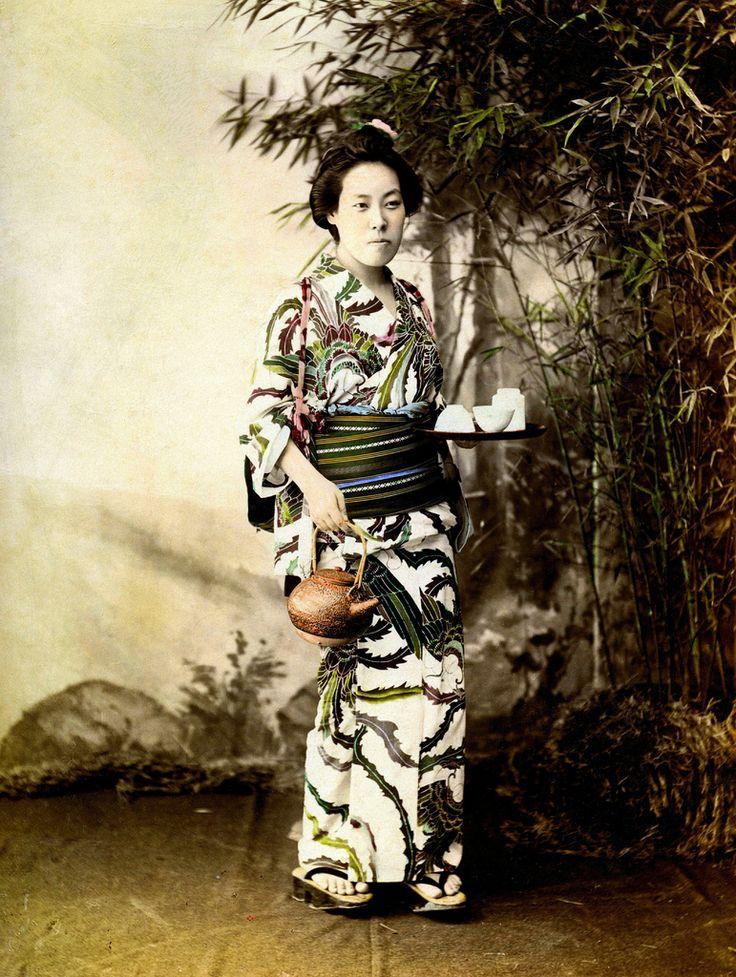 Geisha Aihachi of Nagasaki, 1890s    Aihachi is wearing a superb Yukata with a Hagoromo (celestial feather robe) motif.