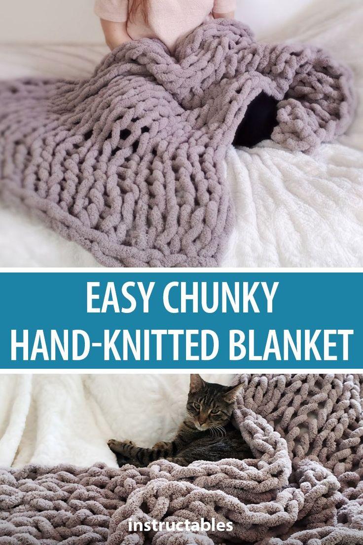 Easy chunky handknitted blanket in one hour knitting
