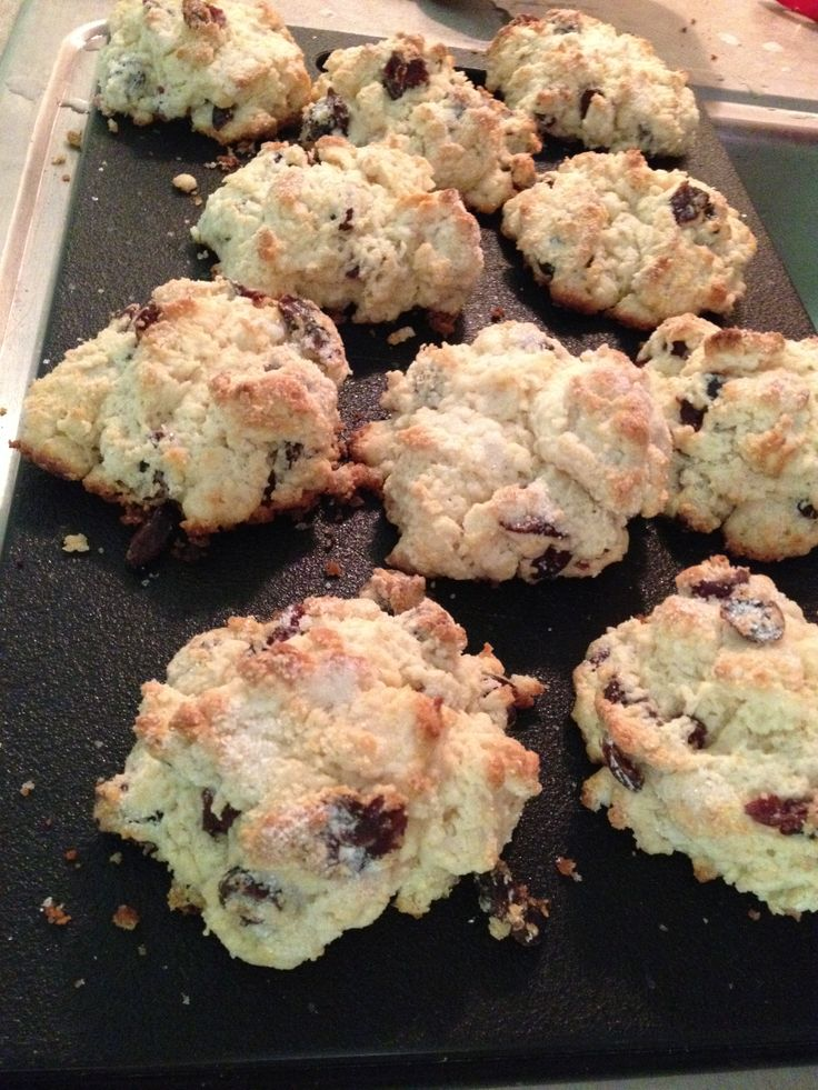 Drop scones—super easy! I made 10 instead of 12, and used only craisins.