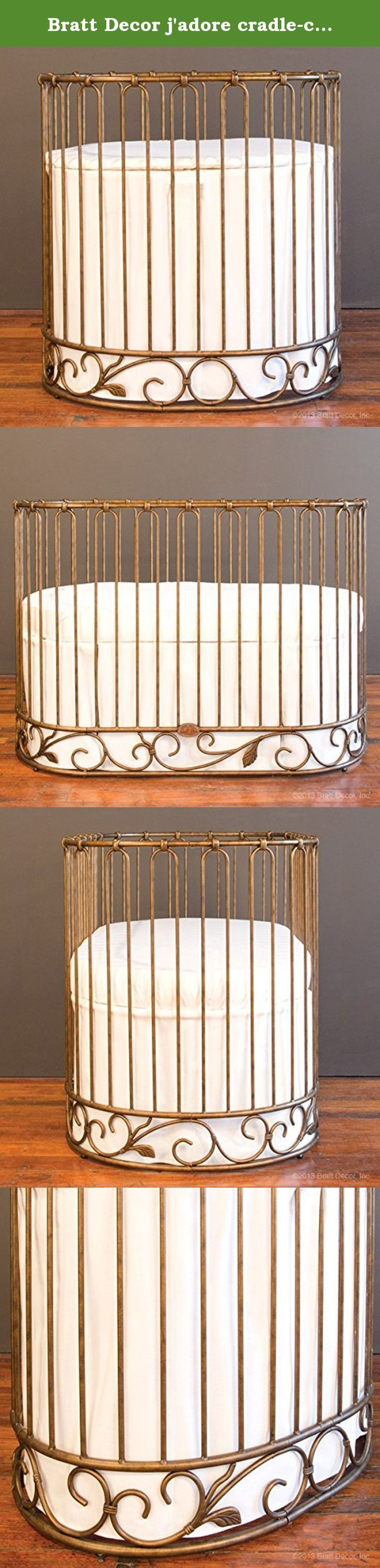 Bratt Decor j'adore cradle-crib vintage gold. The J'adore is heirloom iron luxury at its best, and it's so much more than just a crib. It is a round nursery sleep system that is actually 3 beds in 1. The first bed your newborn will use, a sophisticated cradle, turns into a beautiful crib and then an elegant daybed. Bratt Decor's round sleep systems combine brilliant design with luxury styling to keep your baby surrounded in style and sophistication from birth throughout the toddler years....
