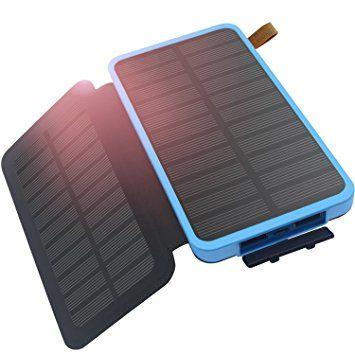 Hiluckey Chargeur solaire 8600mAh, Portable Power Bank High conversion efficiency Pliable Puissant Imperméable, Dual Solar Panels Batterie Externe avec lumière LED pour iPhone, iPad, Samsung, HTC,Android téléphone , tablette ect