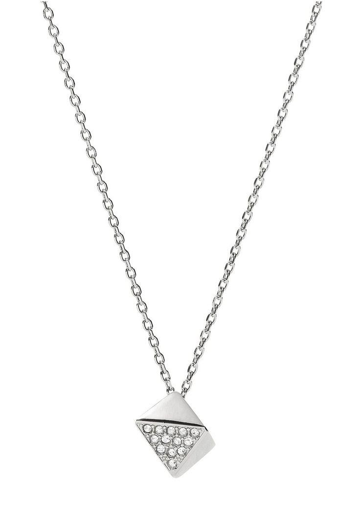 Fossil Halskette , »Vintage Glitz, JF02000040«.  Genießen Sie die schlichte Schönheit und lassen Sie sich von der natürlichen Ausstrahlung des glänzenden Schmuckstückes aus massivem Edelstahl verzaubern. Durch die funkelnden Glassteine erhält der Behang einen Glamour-Touch. Die Kette mit Federring hat eine Länge von ca. 45 cm und kann durch das ca. 5 cm lange Verlängerungskettchen verstellt wer...