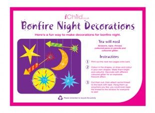 Use this craft activity template to make some sparkly firework decorations on bonfire night!