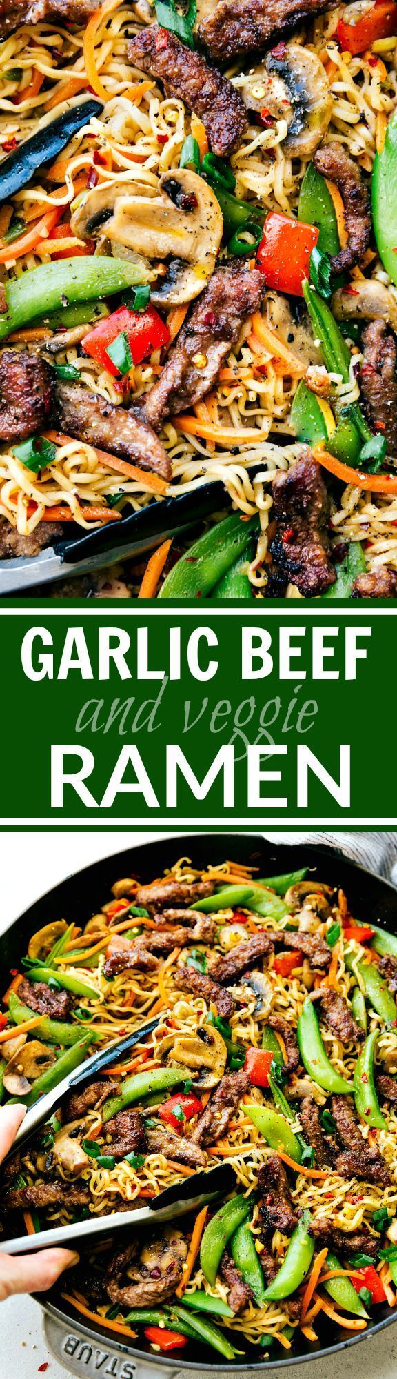 Garlic Beef and Veggie Ramen is an easy 30-minute dinner recipe that is so much better than take-out! via chelseasmessyapron.com (marinated garlic mushrooms)