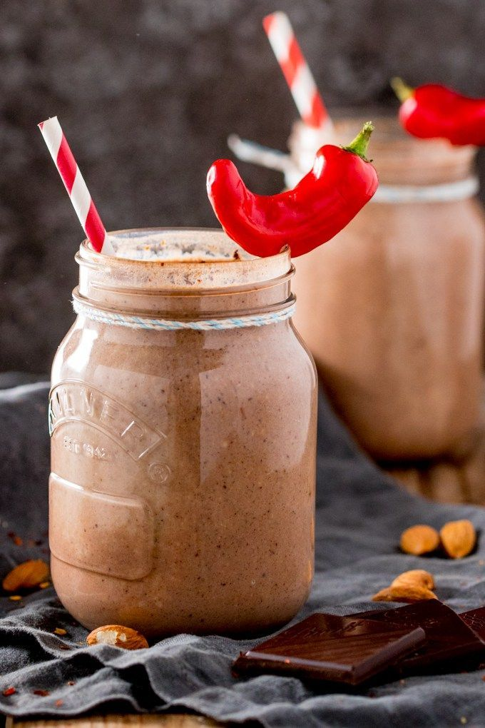 Mexican Hot Chocolate Breakfast Smoothie - A delicious warm smoothie to wake up your taste buds. Lots of healthy goodies in there too! Gluten free!