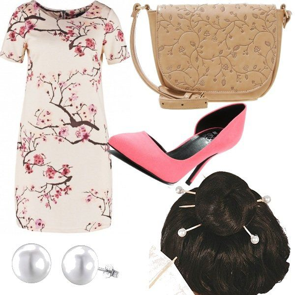 Outfit+d'ispirazione+orientale+composto+da+abitino+a+mezza+manica+stampato,+scarpe+d'Orsay+rosa,+tracollina+beige+con+ricami,+orecchini+a+perla+e+per+concludere+bastoncini+con+perle+per+capelli.