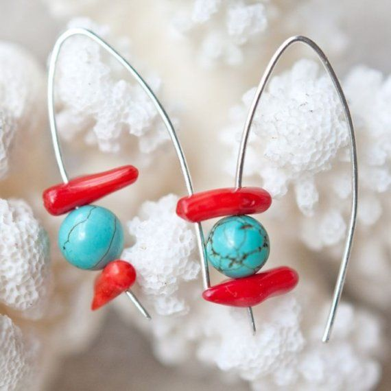 Sterling Silver Earrings Red Coral Turquoise Hooks Modern Minimalist Geometric Jewelry winter valentine gift tbteam.   daimblond on Etsy  (I like these simple wires.)