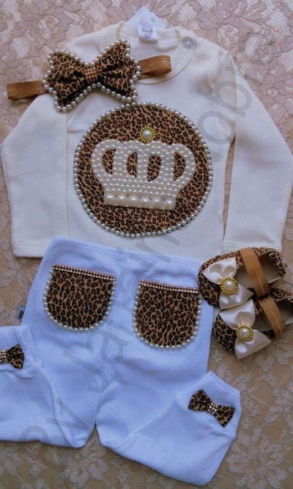 Kit Princesa de Oncinha  Contém no Kit: 1 body, 1 faixa, 1 calça, 1 sapatinho