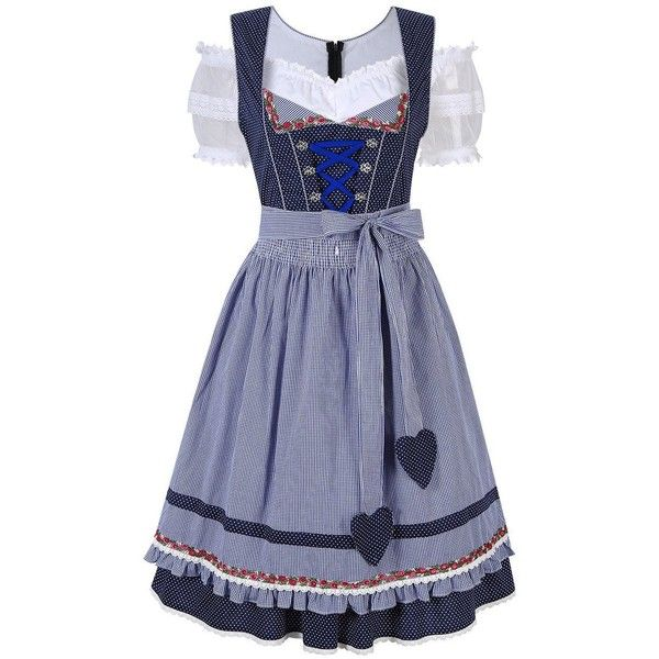KoJooin Women's German Dirndl Dress 3 Pieces Oktoberfest Costumes ($66) ❤ liked on Polyvore featuring costumes, lady halloween costumes, lady costumes, ladies halloween costumes, women's halloween costumes and womens costumes