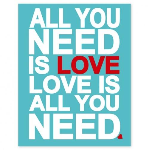 All You Need Is Love Aqua Heart - 8x10 inch print - Finny & Zook
