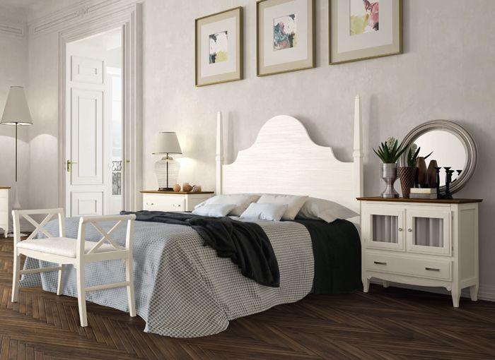 Conjunto dormitorio matrimonio de estilo cl sico con cabecero modelo volga estilo isabelino - Cabeceros con estilo ...