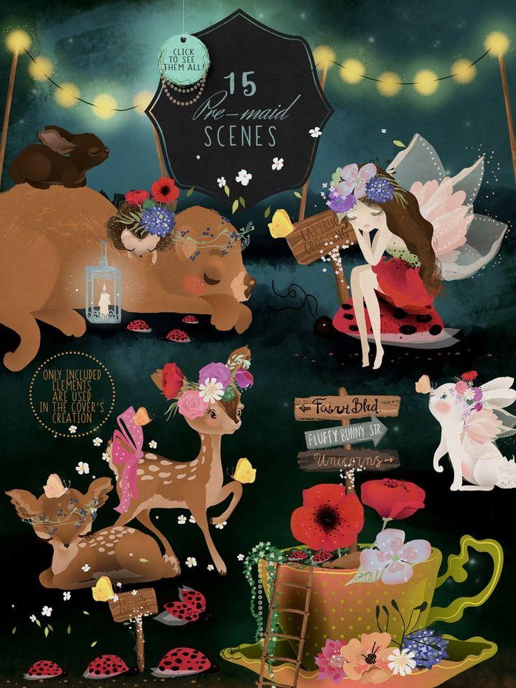 Enchanted Garden Digital Clipart fairy clipart fantasy