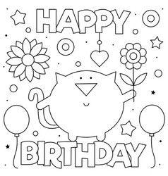 Happy birthday coloring page vector in 2020 | Happy ...