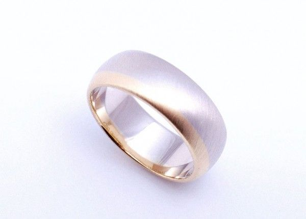 Multi colour wedding ring. 18ct yellow gold and dark white gold combination. Brush finish