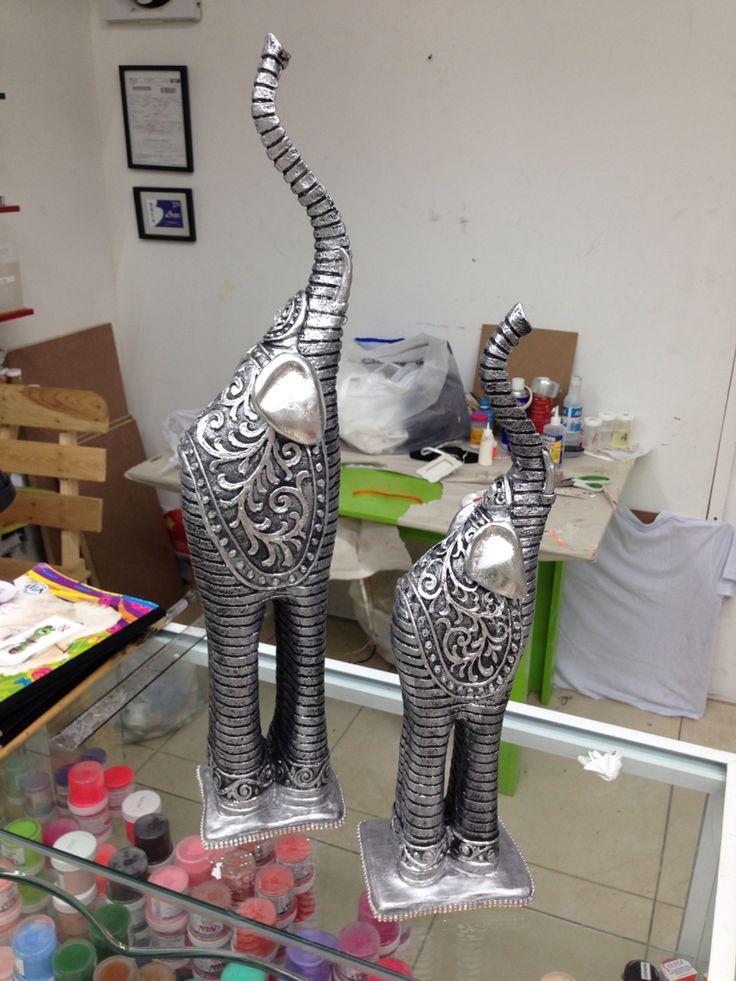 Elefantes de yeso en t cnica brocha seca ideas para for Figuras ceramica